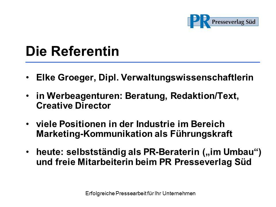 Die Referentin Elke Groeger, Dipl.