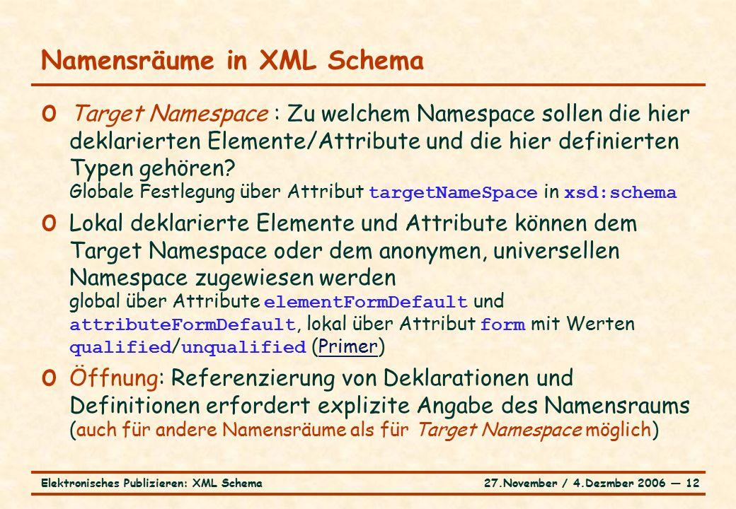 27.November / 4.Dezmber 2006 ― 12Elektronisches Publizieren: XML Schema o Target Namespace : Zu welchem Namespace sollen die hier deklarierten Elemente/Attribute und die hier definierten Typen gehören.