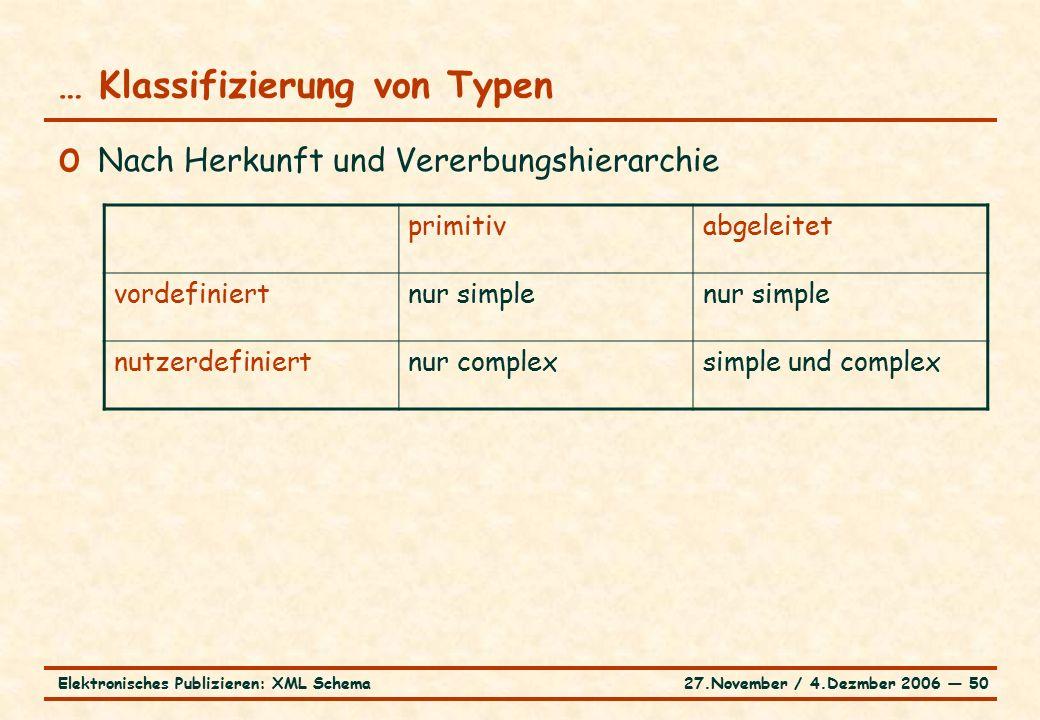 27.November / 4.Dezmber 2006 ― 50Elektronisches Publizieren: XML Schema … Klassifizierung von Typen o Nach Herkunft und Vererbungshierarchie primitivabgeleitet vordefiniertnur simple nutzerdefiniertnur complexsimple und complex