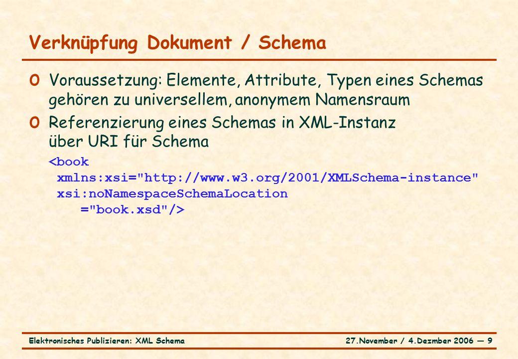 27.November / 4.Dezmber 2006 ― 9Elektronisches Publizieren: XML Schema o Voraussetzung: Elemente, Attribute, Typen eines Schemas gehören zu universellem, anonymem Namensraum o Referenzierung eines Schemas in XML-Instanz über URI für Schema Verknüpfung Dokument / Schema