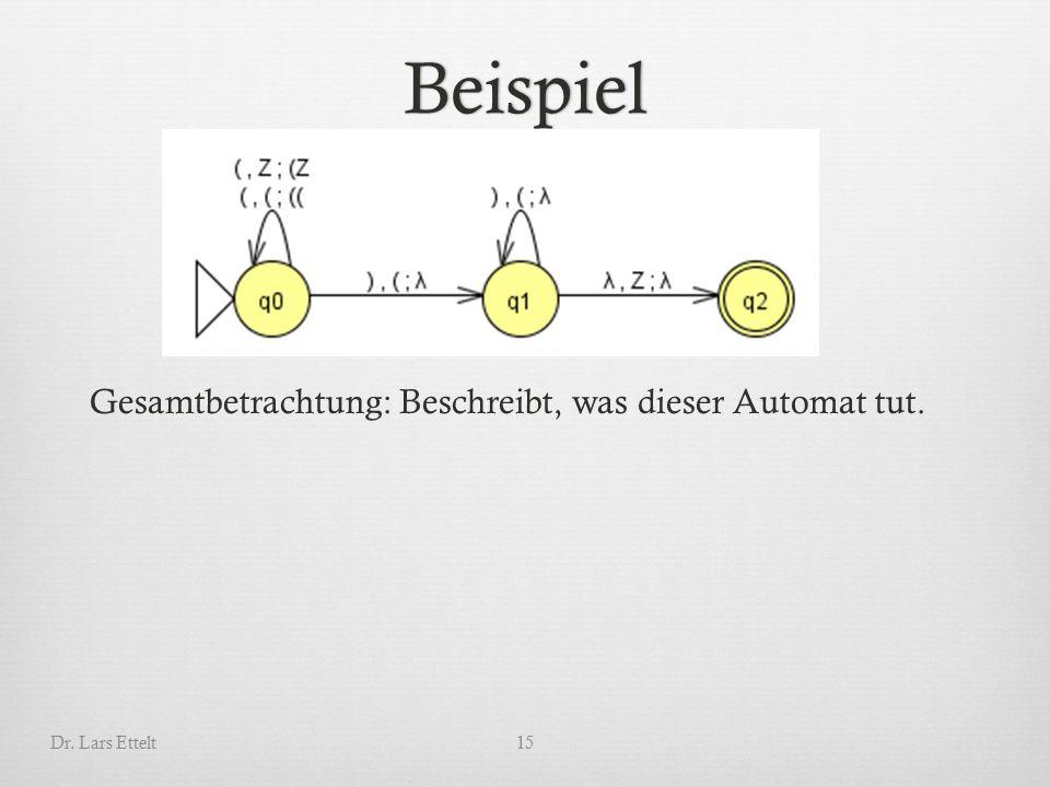 Beispiel Dr. Lars Ettelt15 Gesamtbetrachtung: Beschreibt, was dieser Automat tut.