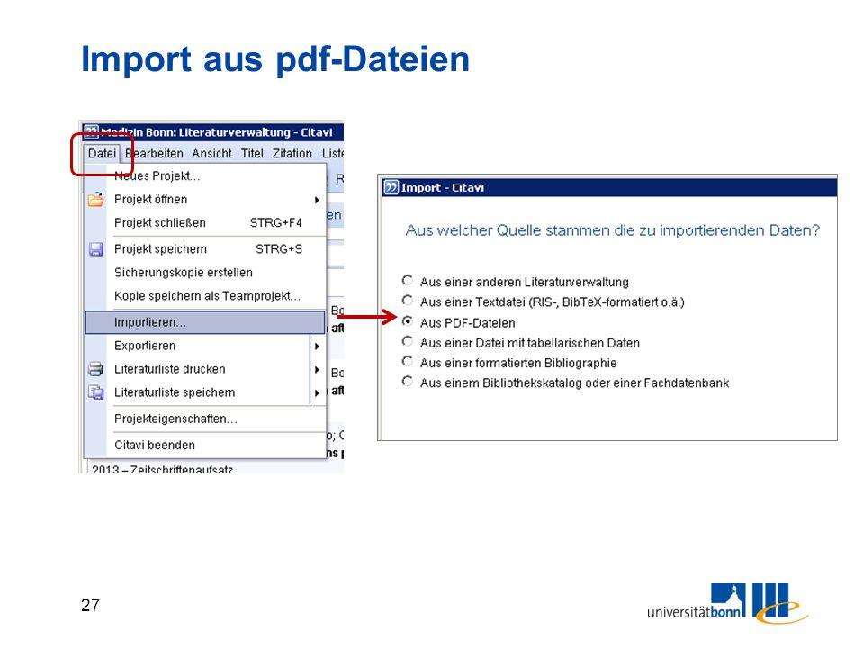 27 Import aus pdf-Dateien
