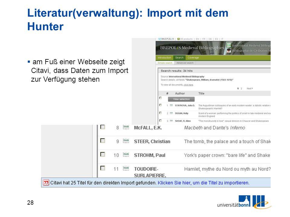 28 Literatur(verwaltung): Import mit dem Hunter  am Fuß einer Webseite zeigt Citavi, dass Daten zum Import zur Verfügung stehen