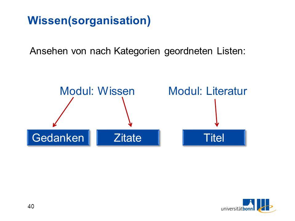 40 Wissen(sorganisation ) Modul: Wissen Gedanken Ansehen von nach Kategorien geordneten Listen: Zitate Modul: Literatur Titel