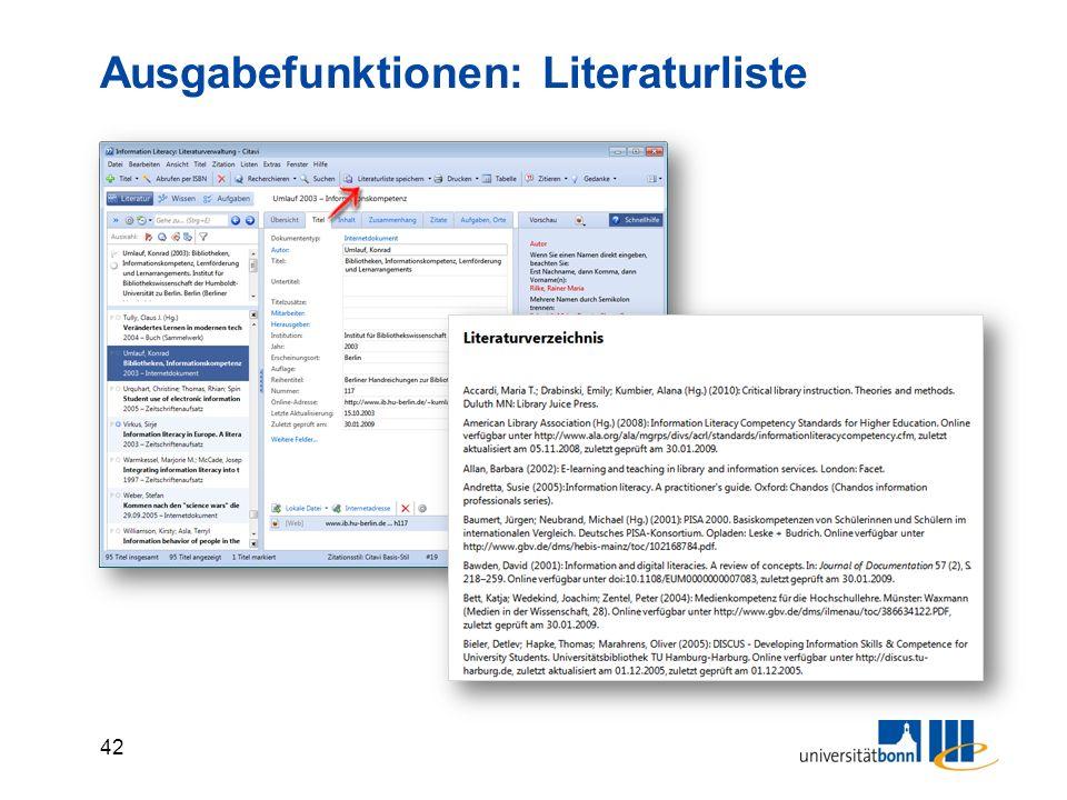 42 Ausgabefunktionen: Literaturliste