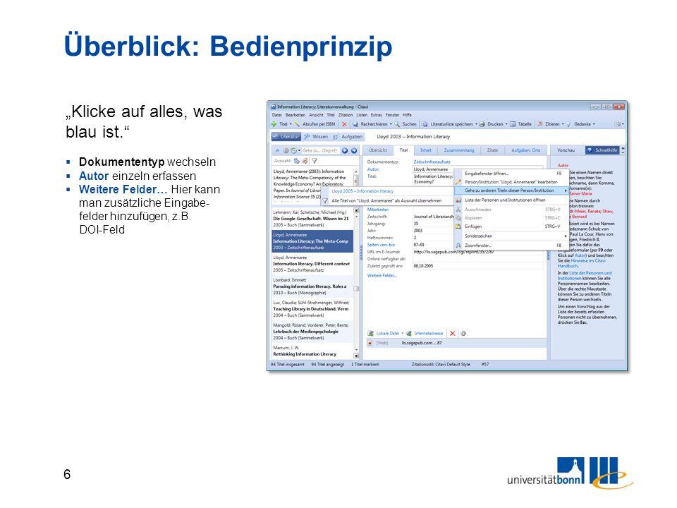 57 Überblick Citavi Ordner Bearbeitete Zitationstile Projektdatei Angehängte Dateien