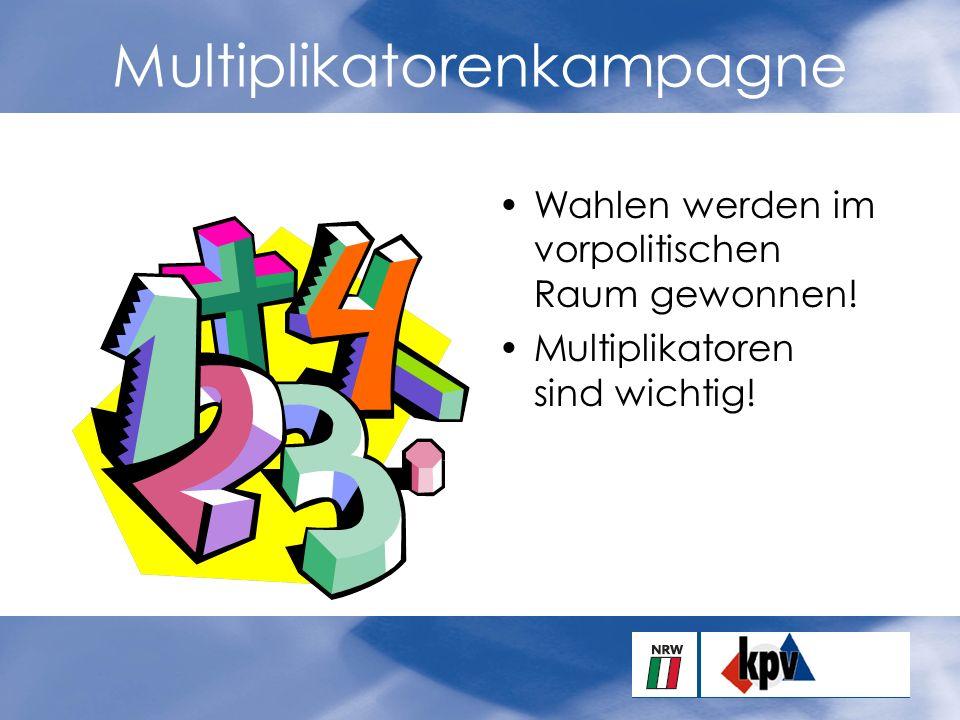 Multiplikatorenkampagne Wahlen werden im vorpolitischen Raum gewonnen.