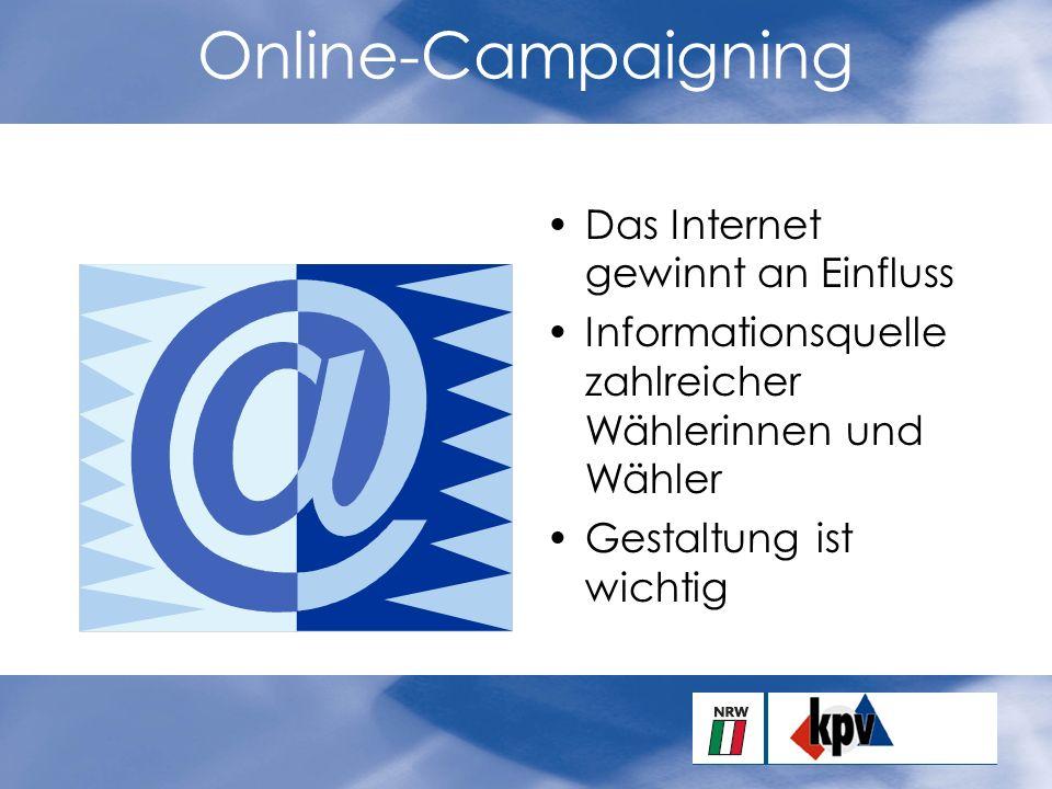 Online-Campaigning Das Internet gewinnt an Einfluss Informationsquelle zahlreicher Wählerinnen und Wähler Gestaltung ist wichtig