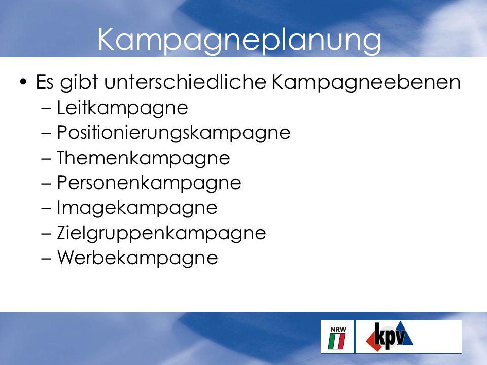 Kampagneplanung Es gibt unterschiedliche Kampagneebenen –Leitkampagne –Positionierungskampagne –Themenkampagne –Personenkampagne –Imagekampagne –Zielgruppenkampagne –Werbekampagne