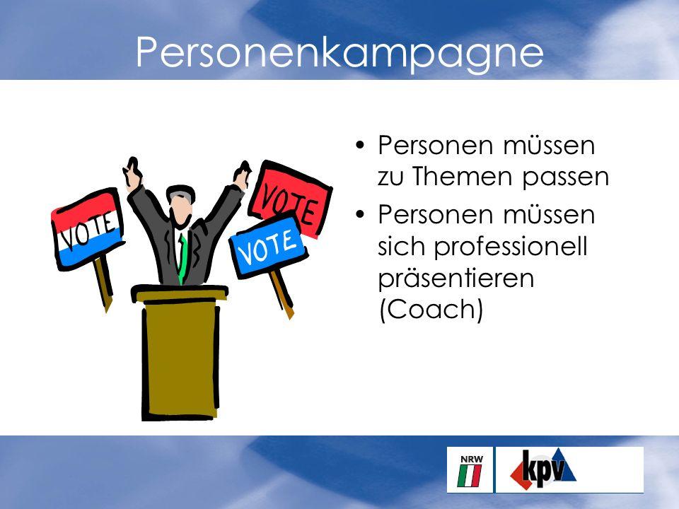 Personenkampagne Personen müssen zu Themen passen Personen müssen sich professionell präsentieren (Coach)