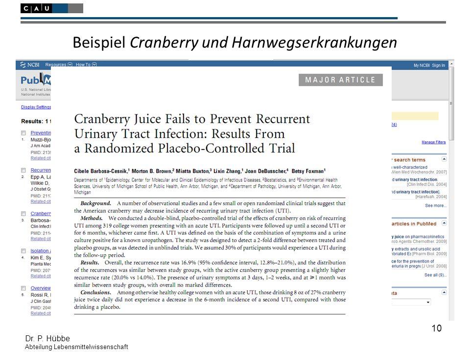 10 Dr. P. Hübbe Abteilung Lebensmittelwissenschaft Beispiel Cranberry und Harnwegserkrankungen