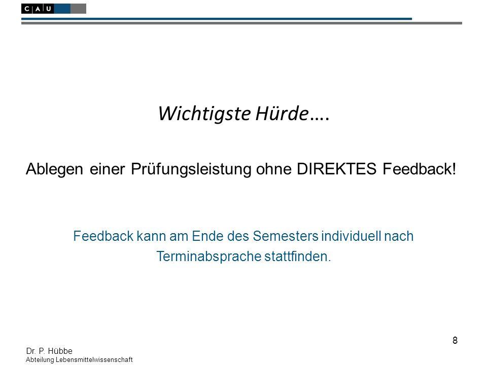 8 Dr. P. Hübbe Abteilung Lebensmittelwissenschaft Wichtigste Hürde….