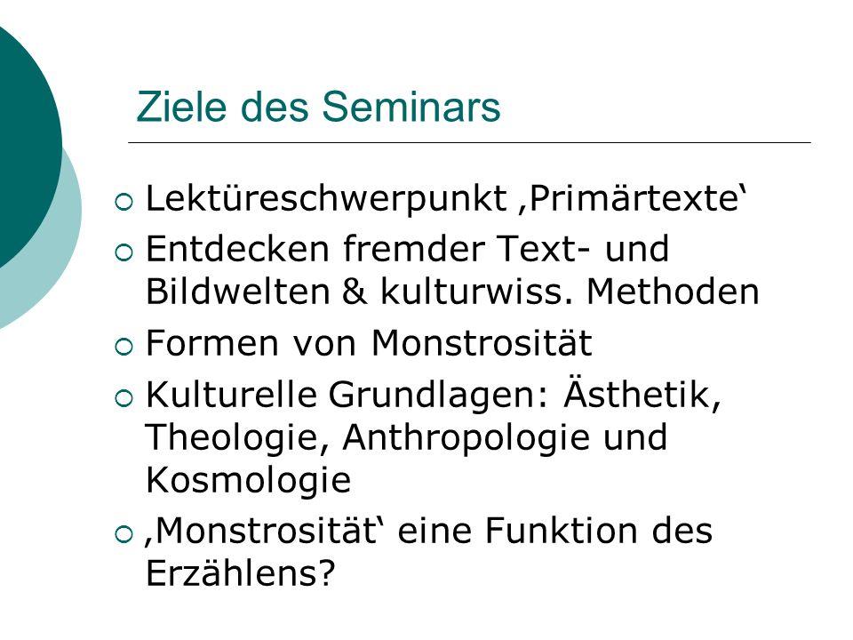 Ziele des Seminars  Lektüreschwerpunkt 'Primärtexte'  Entdecken fremder Text- und Bildwelten & kulturwiss. Methoden  Formen von Monstrosität  Kult