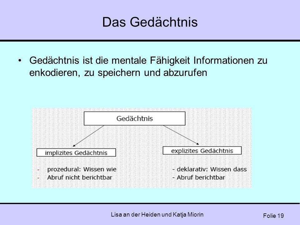 Folie 19 Lisa an der Heiden und Katja Miorin Das Gedächtnis Gedächtnis ist die mentale Fähigkeit Informationen zu enkodieren, zu speichern und abzuruf