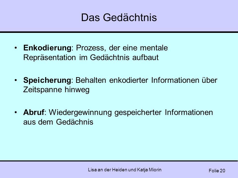 Folie 20 Lisa an der Heiden und Katja Miorin Das Gedächtnis Enkodierung: Prozess, der eine mentale Repräsentation im Gedächtnis aufbaut Speicherung: B