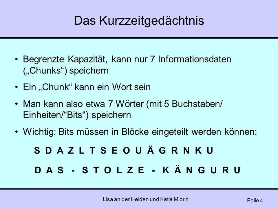 """Folie 4 Lisa an der Heiden und Katja Miorin Das Kurzzeitgedächtnis Begrenzte Kapazität, kann nur 7 Informationsdaten (""""Chunks"""") speichern Ein """"Chunk"""""""