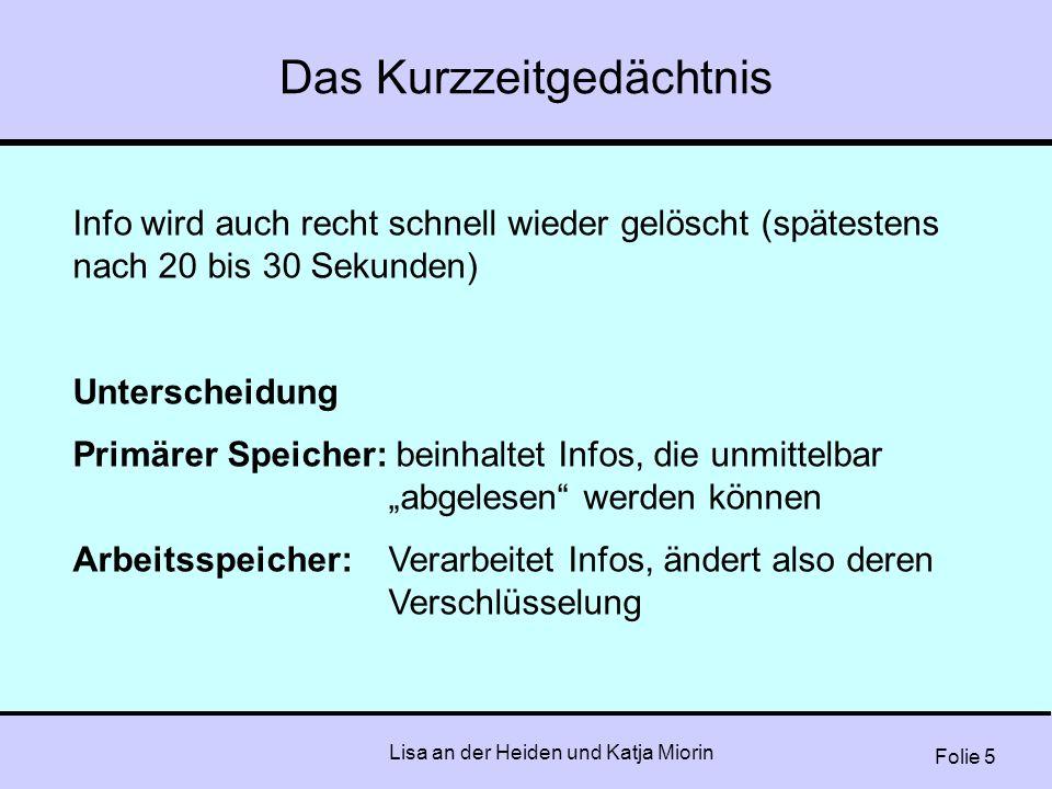 Folie 5 Lisa an der Heiden und Katja Miorin Das Kurzzeitgedächtnis Info wird auch recht schnell wieder gelöscht (spätestens nach 20 bis 30 Sekunden) U
