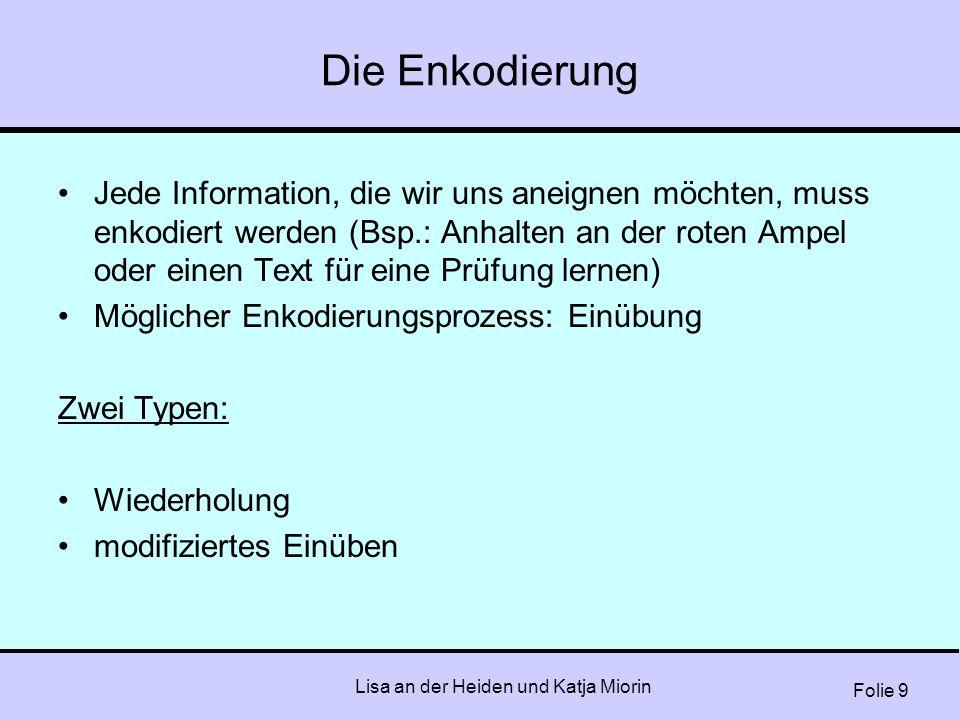 Folie 9 Lisa an der Heiden und Katja Miorin Die Enkodierung Jede Information, die wir uns aneignen möchten, muss enkodiert werden (Bsp.: Anhalten an d