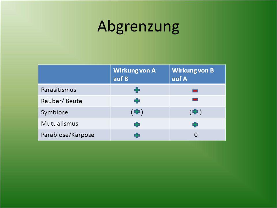 Abgrenzung Wirkung von A auf B Wirkung von B auf A Parasitismus Räuber/ Beute Symbiose Mutualismus Parabiose/Karpose 0 ( ) ( )
