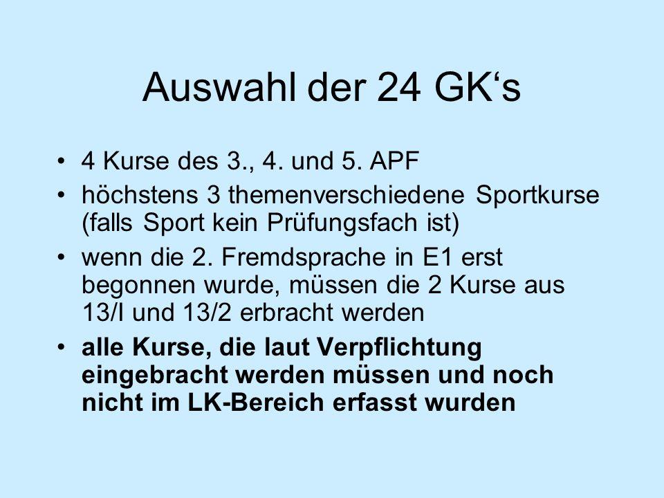Auswahl der 24 GK's 4 Kurse des 3., 4. und 5.