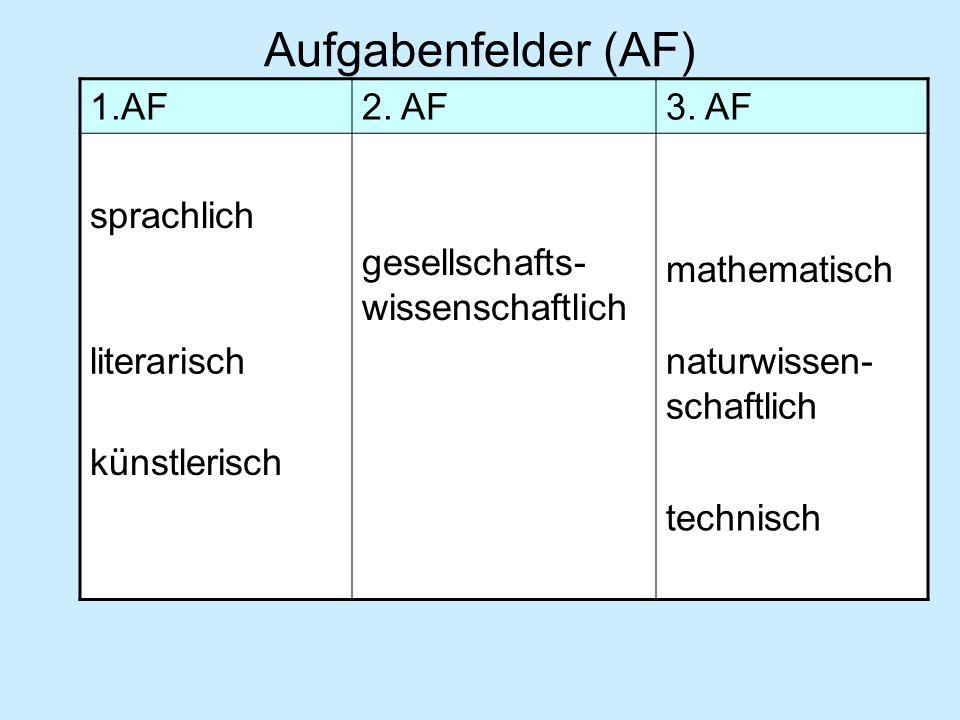 Leistungskursfächer 1.AF2.AF3.