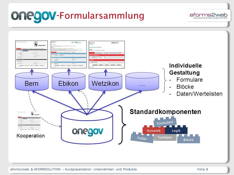 aforms2web & AFORMSOLUTION – Kurzpräsentation Unternehmen und ProdukteFolie 8 Kooperation Bern Ebikon Wetzikon...