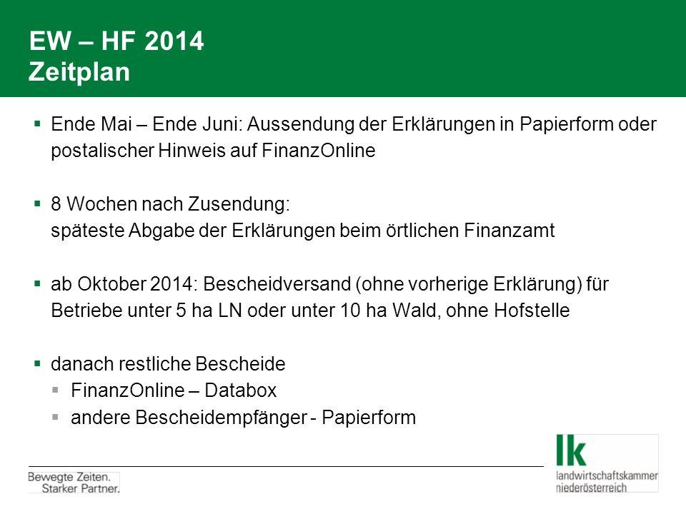 EW – HF 2014 Zeitplan  Ende Mai – Ende Juni: Aussendung der Erklärungen in Papierform oder postalischer Hinweis auf FinanzOnline  8 Wochen nach Zuse