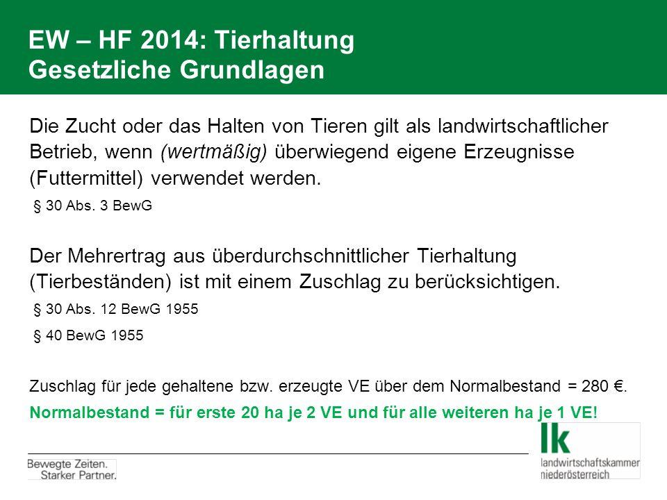 EW – HF 2014: Tierhaltung Gesetzliche Grundlagen Die Zucht oder das Halten von Tieren gilt als landwirtschaftlicher Betrieb, wenn (wertmäßig) überwiegend eigene Erzeugnisse (Futtermittel) verwendet werden.