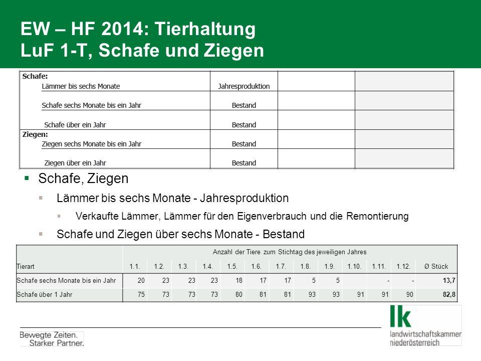 EW – HF 2014: Tierhaltung LuF 1-T, Schafe und Ziegen  Schafe, Ziegen  Lämmer bis sechs Monate - Jahresproduktion  Verkaufte Lämmer, Lämmer für den Eigenverbrauch und die Remontierung  Schafe und Ziegen über sechs Monate - Bestand Anzahl der Tiere zum Stichtag des jeweiligen Jahres Tierart1.1.1.2.1.3.1.4.1.5.1.6.1.7.1.8.1.9.1.10.1.11.1.12.Ø Stück Schafe sechs Monate bis ein Jahr 20 23 18 17 5 5 - - 13,7 Schafe über 1 Jahr 75 73 80 81 93 91 90 82,8