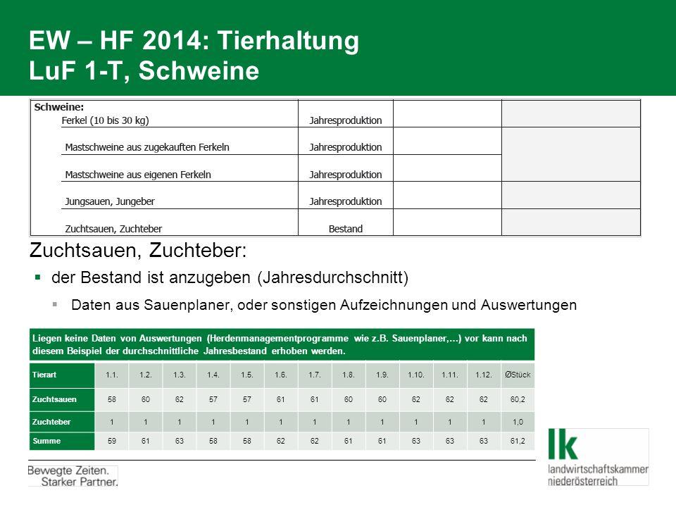 EW – HF 2014: Tierhaltung LuF 1-T, Schweine Zuchtsauen, Zuchteber:  der Bestand ist anzugeben (Jahresdurchschnitt)  Daten aus Sauenplaner, oder sonstigen Aufzeichnungen und Auswertungen Liegen keine Daten von Auswertungen (Herdenmanagementprogramme wie z.B.