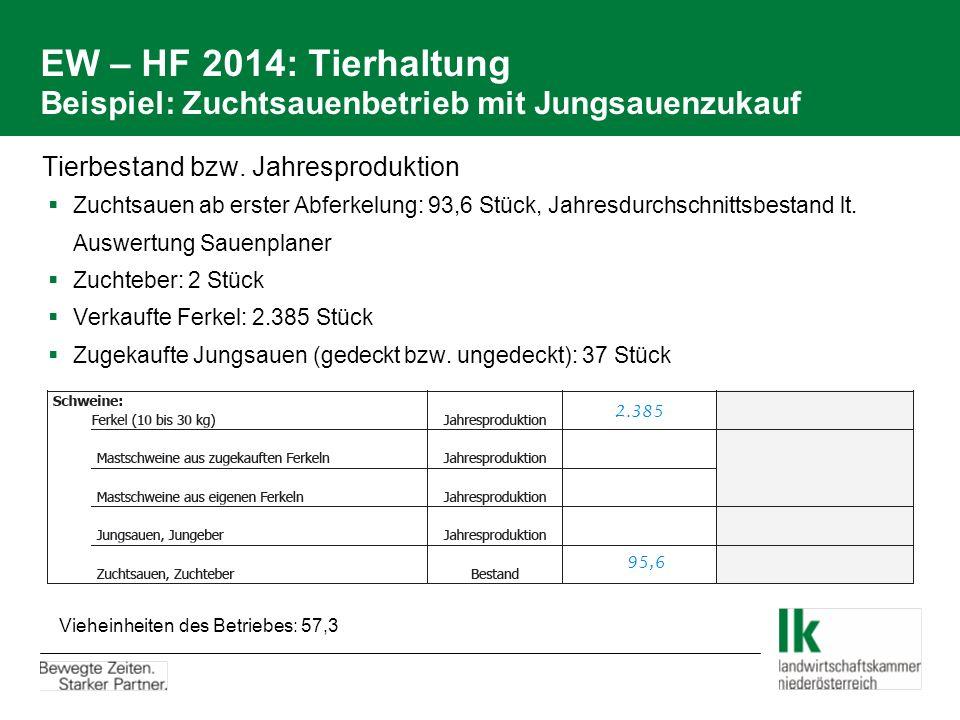 EW – HF 2014: Tierhaltung Beispiel: Zuchtsauenbetrieb mit Jungsauenzukauf Tierbestand bzw. Jahresproduktion  Zuchtsauen ab erster Abferkelung: 93,6 S