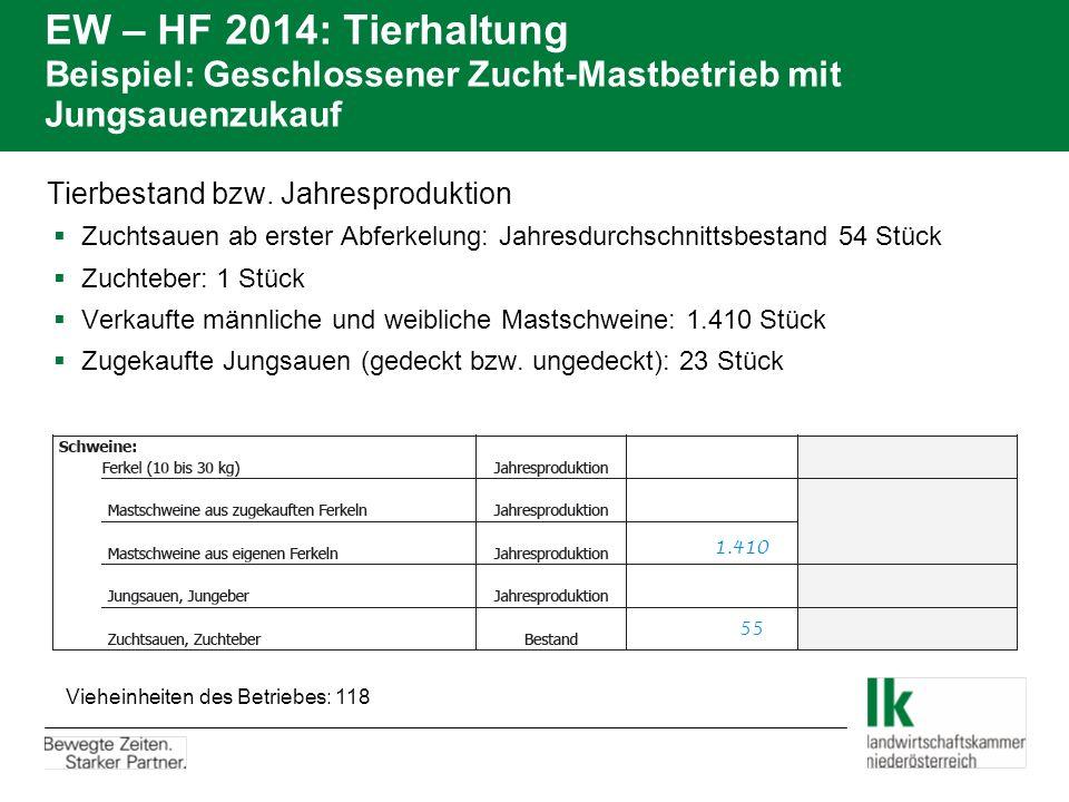 EW – HF 2014: Tierhaltung Beispiel: Geschlossener Zucht-Mastbetrieb mit Jungsauenzukauf Tierbestand bzw. Jahresproduktion  Zuchtsauen ab erster Abfer