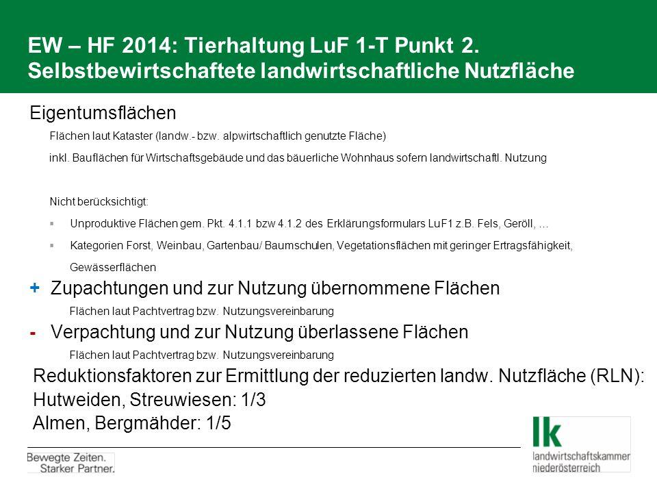 EW – HF 2014: Tierhaltung LuF 1-T Punkt 2. Selbstbewirtschaftete landwirtschaftliche Nutzfläche Eigentumsflächen Flächen laut Kataster (landw.- bzw. a