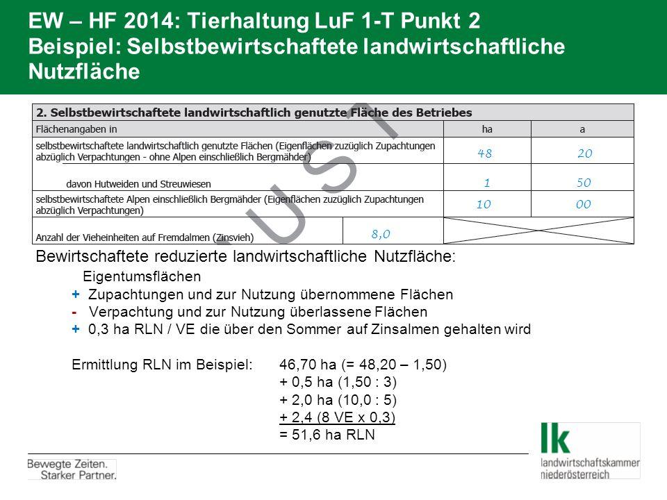 EW – HF 2014: Tierhaltung LuF 1-T Punkt 2 Beispiel: Selbstbewirtschaftete landwirtschaftliche Nutzfläche  Bewirtschaftete reduzierte landwirtschaftli
