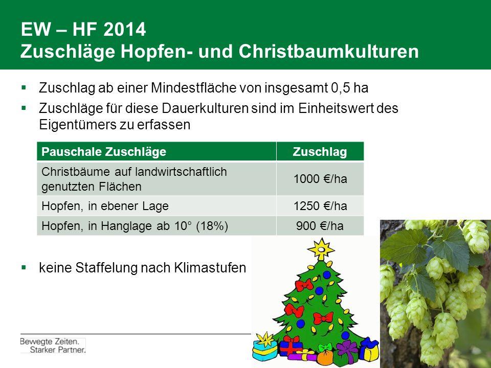 EW – HF 2014 Zuschläge Hopfen- und Christbaumkulturen  Zuschlag ab einer Mindestfläche von insgesamt 0,5 ha  Zuschläge für diese Dauerkulturen sind