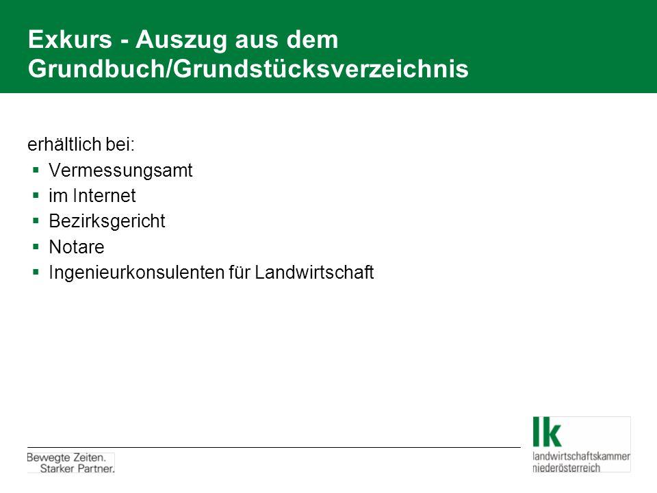Exkurs - Auszug aus dem Grundbuch/Grundstücksverzeichnis erhältlich bei:  Vermessungsamt  im Internet  Bezirksgericht  Notare  Ingenieurkonsulenten für Landwirtschaft
