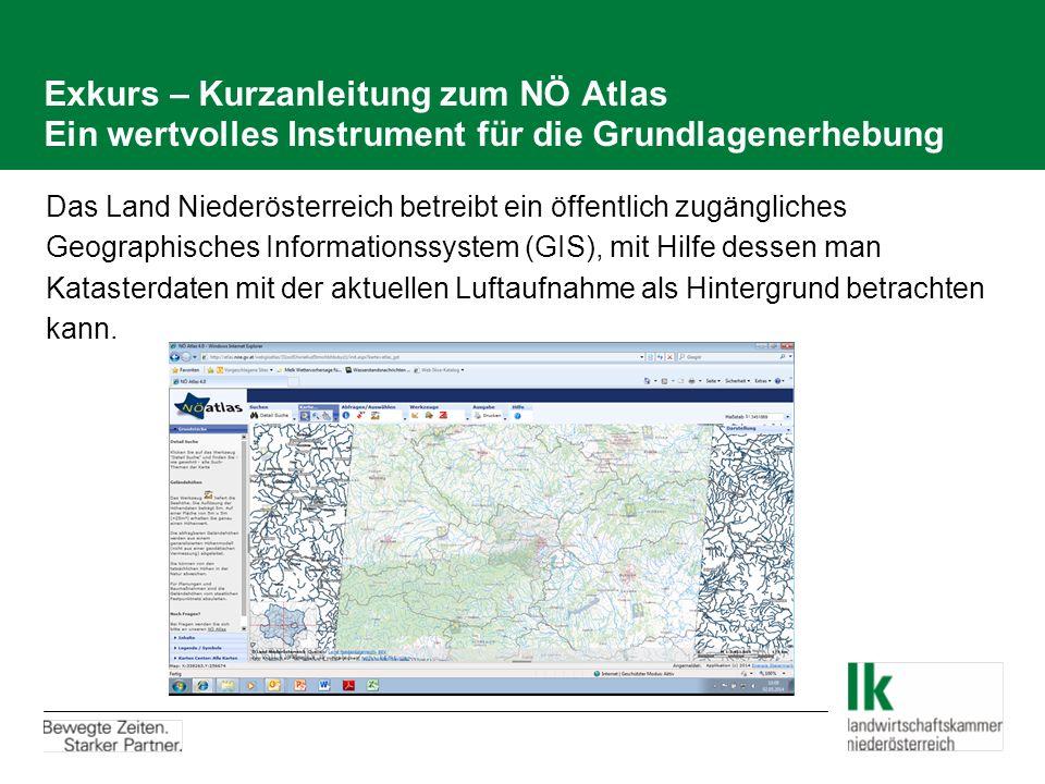 Exkurs – Kurzanleitung zum NÖ Atlas Ein wertvolles Instrument für die Grundlagenerhebung Das Land Niederösterreich betreibt ein öffentlich zugängliches Geographisches Informationssystem (GIS), mit Hilfe dessen man Katasterdaten mit der aktuellen Luftaufnahme als Hintergrund betrachten kann.