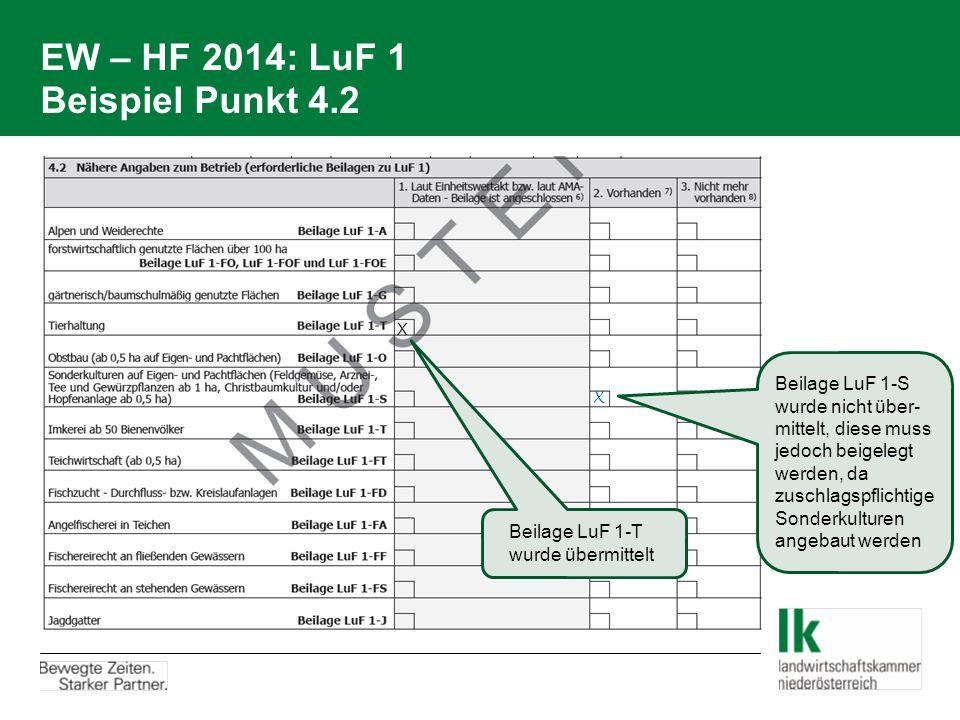 EW – HF 2014: LuF 1 Beispiel Punkt 4.2 Beilage LuF 1-T wurde übermittelt X X Beilage LuF 1-S wurde nicht über- mittelt, diese muss jedoch beigelegt werden, da zuschlagspflichtige Sonderkulturen angebaut werden