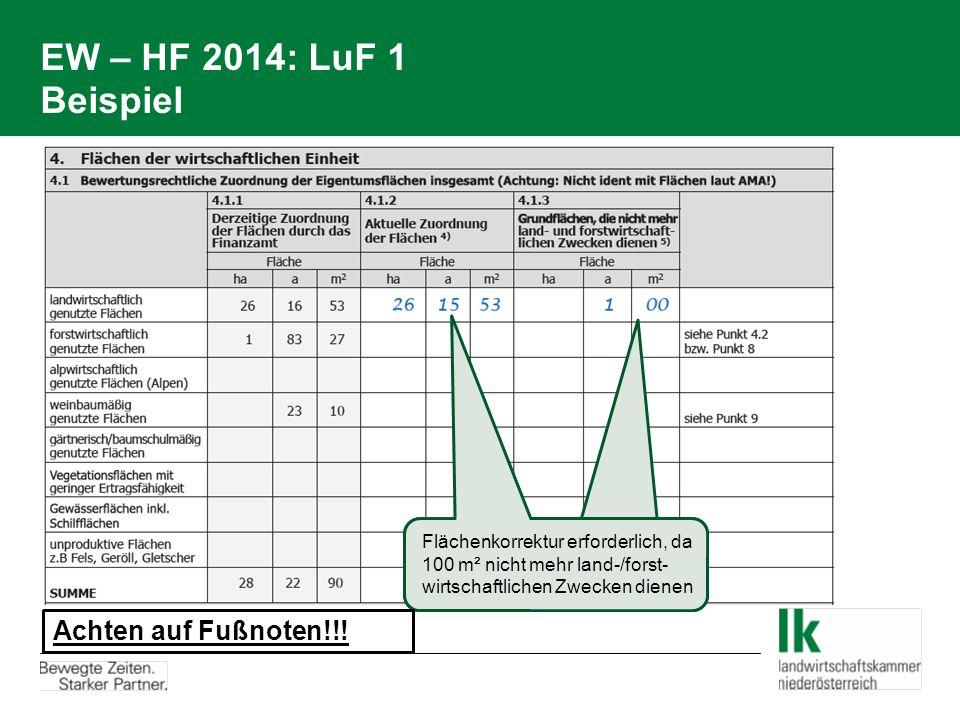 EW – HF 2014: LuF 1 Beispiel Flächenkorrektur erforderlich, da 100 m² nicht mehr land-/forst- wirtschaftlichen Zwecken dienen Achten auf Fußnoten!!!