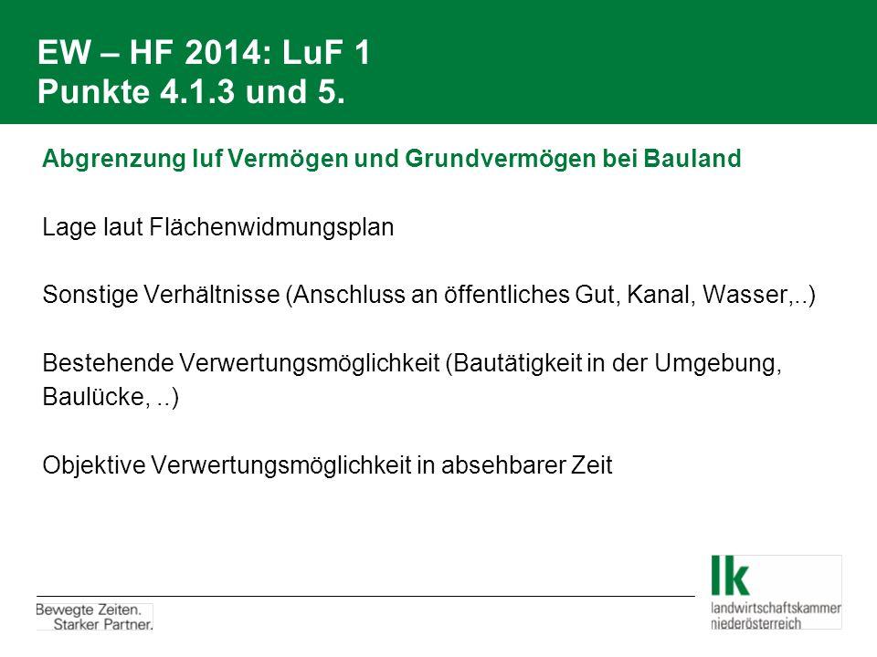 EW – HF 2014: LuF 1 Punkte 4.1.3 und 5. Abgrenzung luf Vermögen und Grundvermögen bei Bauland Lage laut Flächenwidmungsplan Sonstige Verhältnisse (Ans