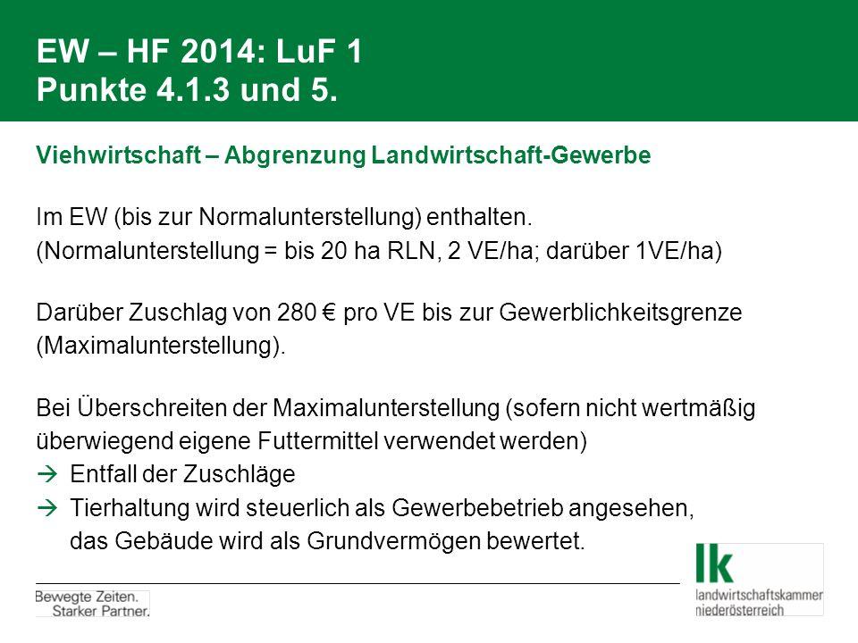 EW – HF 2014: LuF 1 Punkte 4.1.3 und 5. Viehwirtschaft – Abgrenzung Landwirtschaft-Gewerbe Im EW (bis zur Normalunterstellung) enthalten. (Normalunter
