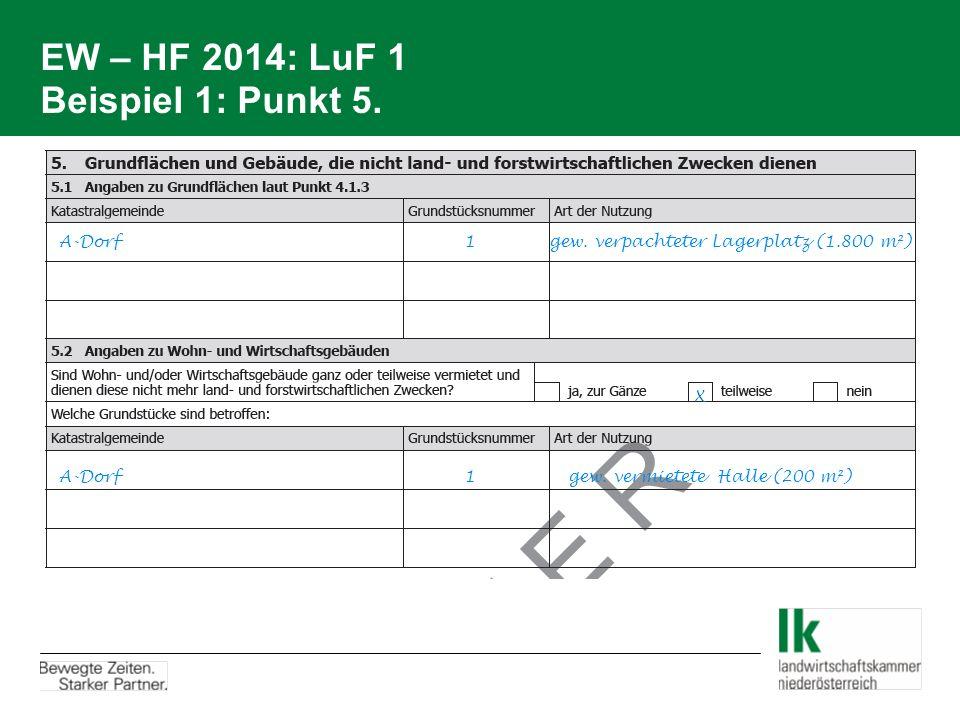 EW – HF 2014: LuF 1 Beispiel 1: Punkt 5. A-Dorf 1 gew. verpachteter Lagerplatz (1.800 m²) A-Dorf 1 gew. vermietete Halle (200 m²) X
