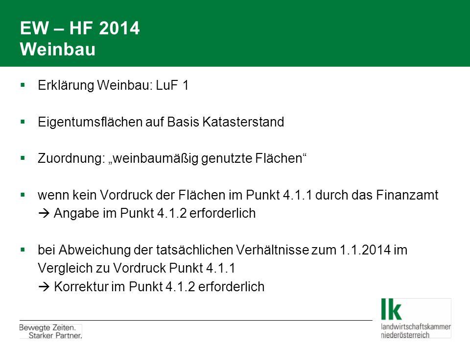 """EW – HF 2014 Weinbau  Erklärung Weinbau: LuF 1  Eigentumsflächen auf Basis Katasterstand  Zuordnung: """"weinbaumäßig genutzte Flächen""""  wenn kein Vo"""