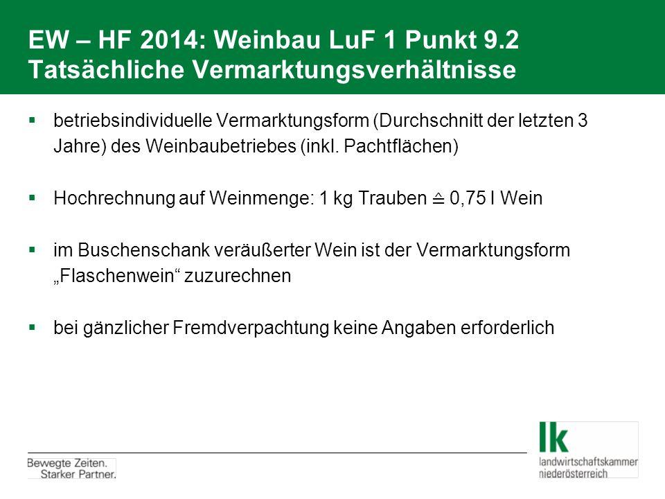 EW – HF 2014: Weinbau LuF 1 Punkt 9.2 Tatsächliche Vermarktungsverhältnisse  betriebsindividuelle Vermarktungsform (Durchschnitt der letzten 3 Jahre)