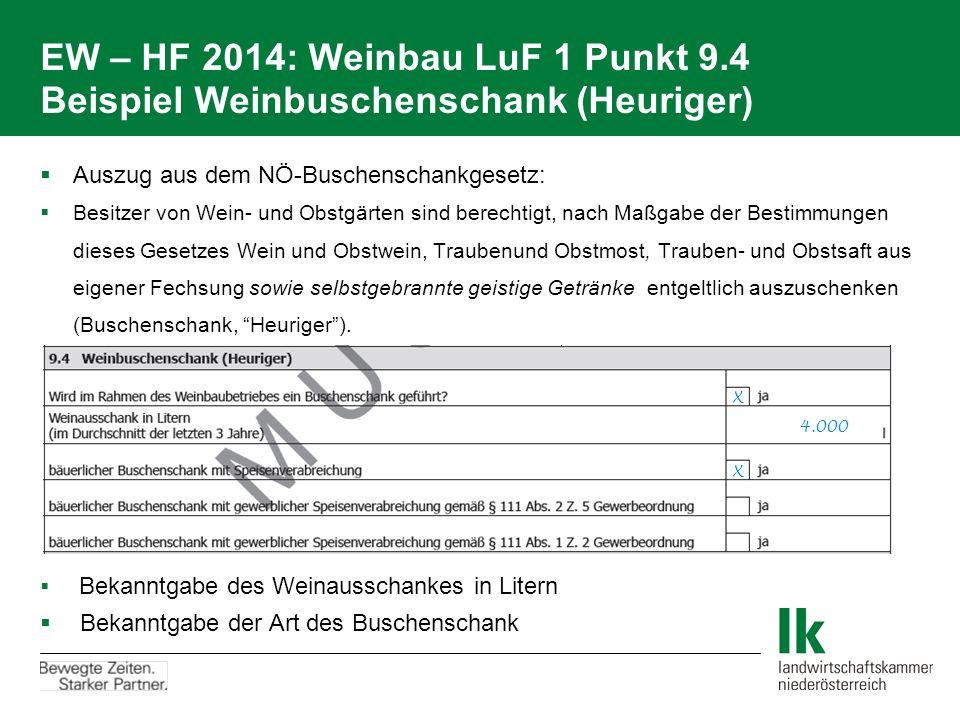 EW – HF 2014: Weinbau LuF 1 Punkt 9.4 Beispiel Weinbuschenschank (Heuriger)  Auszug aus dem NÖ-Buschenschankgesetz:  Besitzer von Wein- und Obstgärt