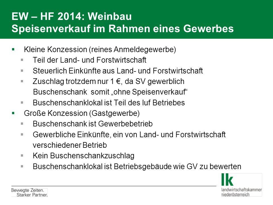 EW – HF 2014: Weinbau Speisenverkauf im Rahmen eines Gewerbes  Kleine Konzession (reines Anmeldegewerbe)  Teil der Land- und Forstwirtschaft  Steue
