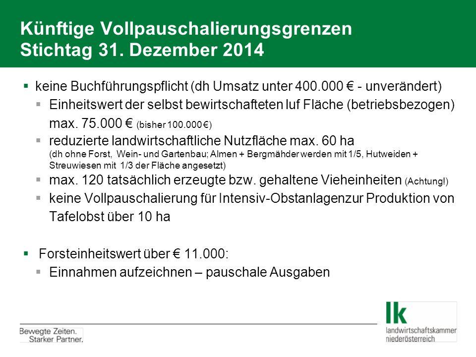 Künftige Vollpauschalierungsgrenzen Stichtag 31. Dezember 2014  keine Buchführungspflicht (dh Umsatz unter 400.000 € - unverändert)  Einheitswert de