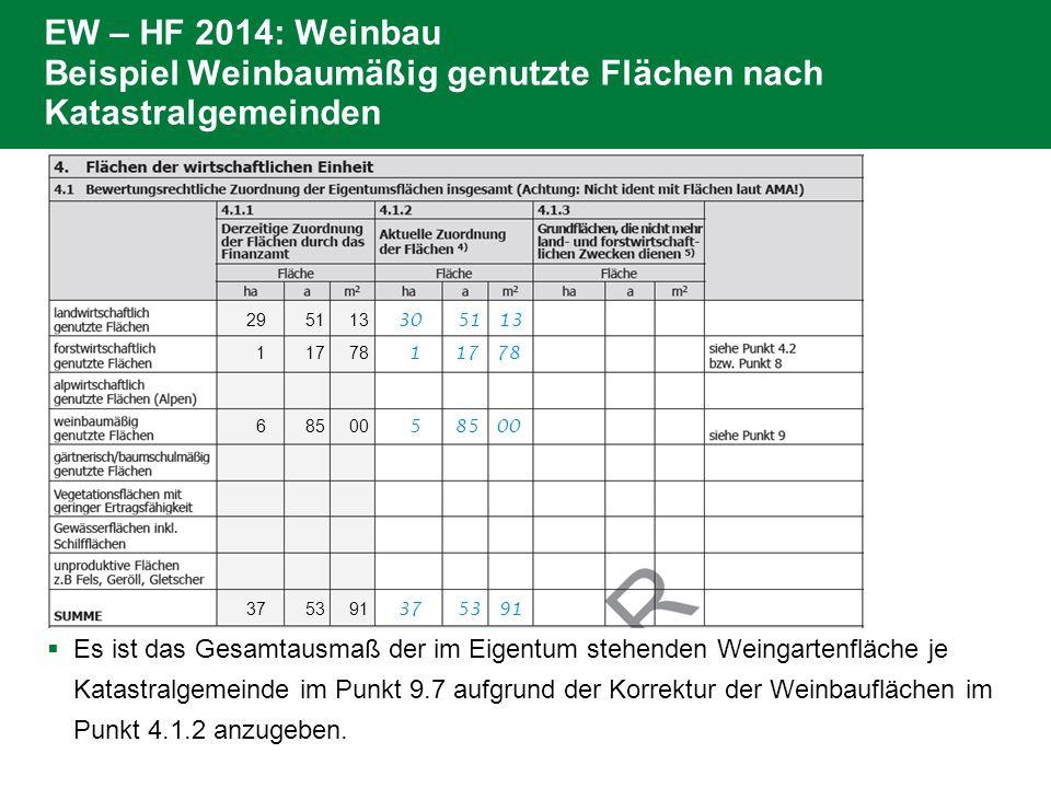  Es ist das Gesamtausmaß der im Eigentum stehenden Weingartenfläche je Katastralgemeinde im Punkt 9.7 aufgrund der Korrektur der Weinbauflächen im Punkt 4.1.2 anzugeben.