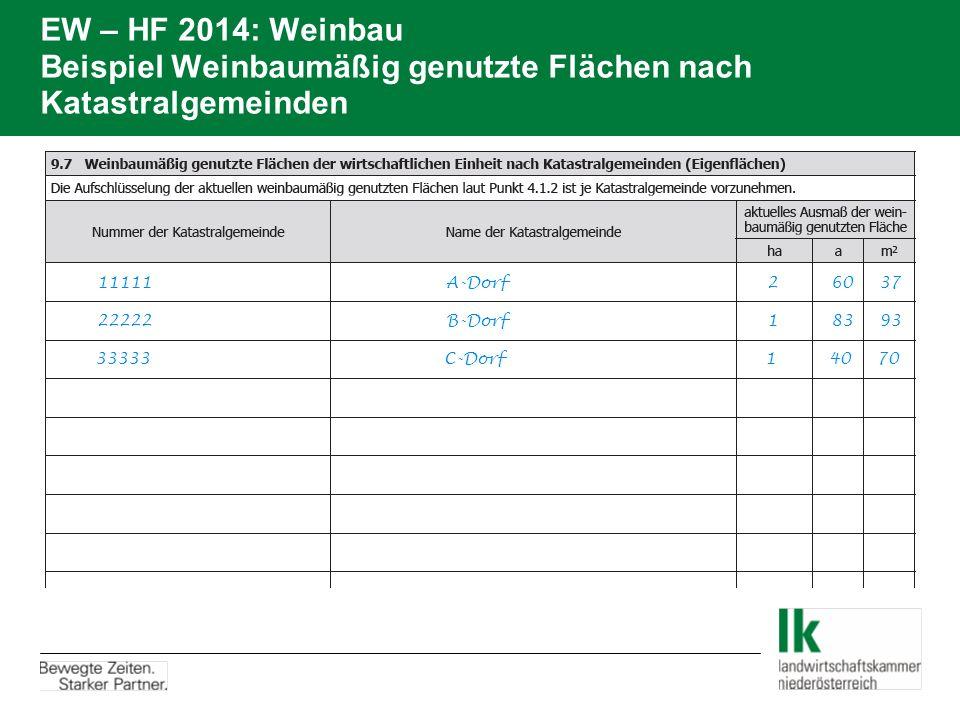 EW – HF 2014: Weinbau Beispiel Weinbaumäßig genutzte Flächen nach Katastralgemeinden 11111A-Dorf 2 60 37 22222B-Dorf 1 83 93 33333C-Dorf 1 40 70