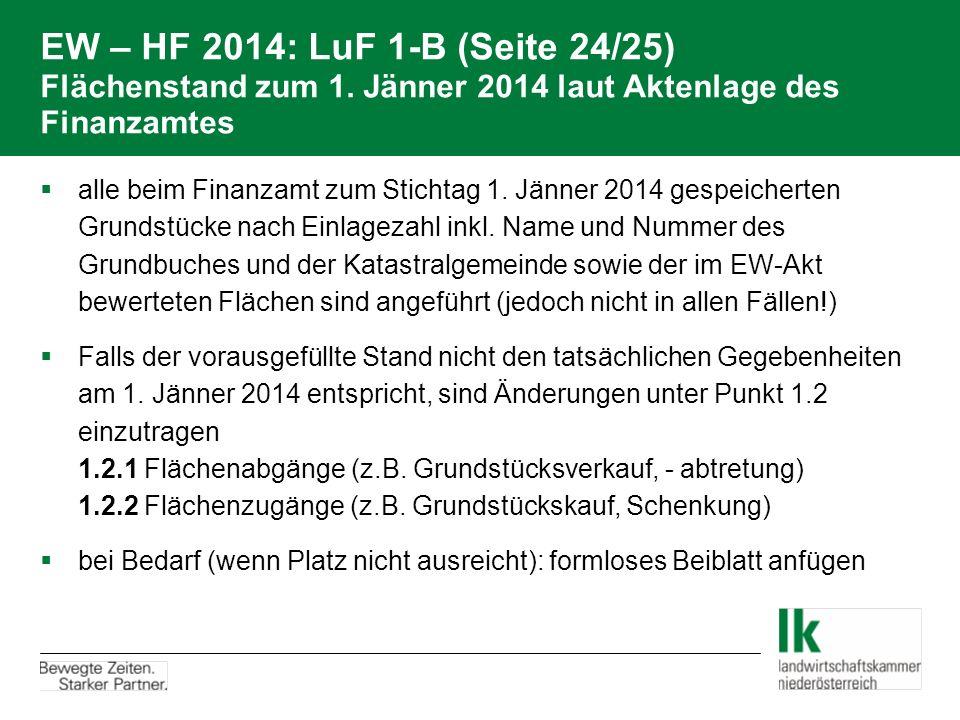EW – HF 2014: LuF 1-B (Seite 24/25) Flächenstand zum 1. Jänner 2014 laut Aktenlage des Finanzamtes  alle beim Finanzamt zum Stichtag 1. Jänner 2014 g